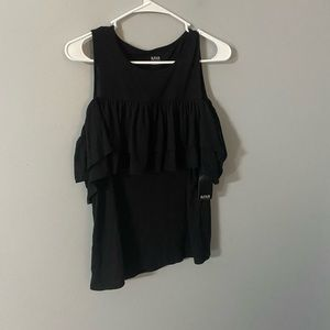 Ana black tank style cold shoulder top S NWT